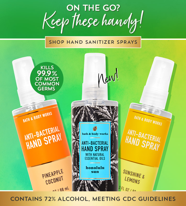 On the go? Keep these handy. Kills 99.9% of most common germs. Contains 72% alcohol, meeting CDC guidelines. Shop hand sanitizer sprays.