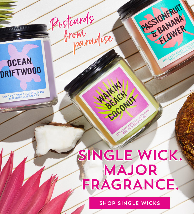 Postcards from paradise. Single wick. Major fragrance. Shop single wicks.