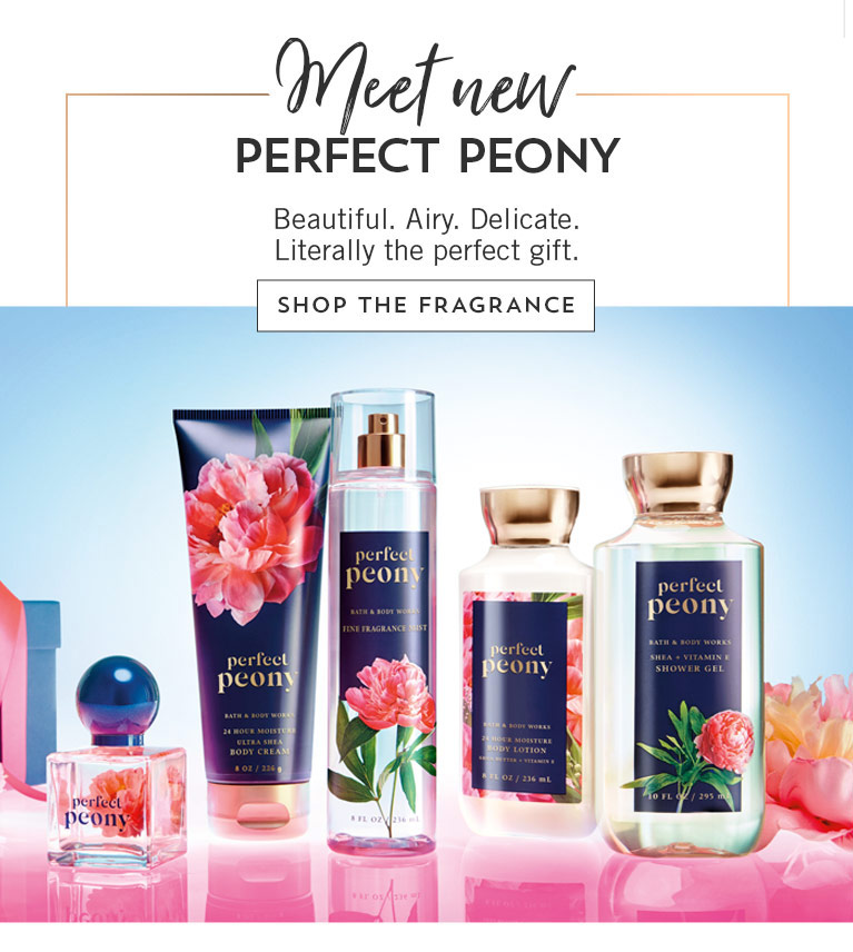 Meet new Perfect Peony. Beautiful. Airy. Delicate. Literally the perfect gift. Shop the fragrance.