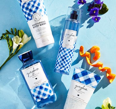 gingham body care products Bath and Body Works