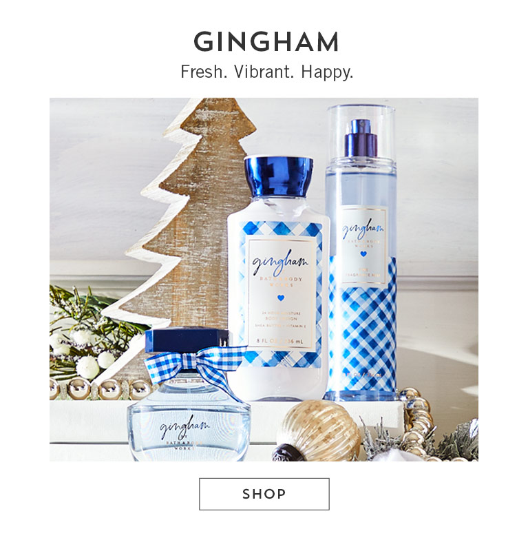 Gingham. Fresh. Vibrant. Happy. Shop.