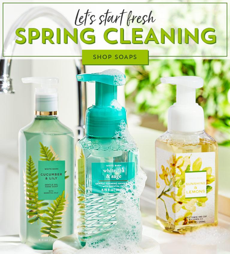 Let's start fresh. Spring cleaning. Shop soaps.
