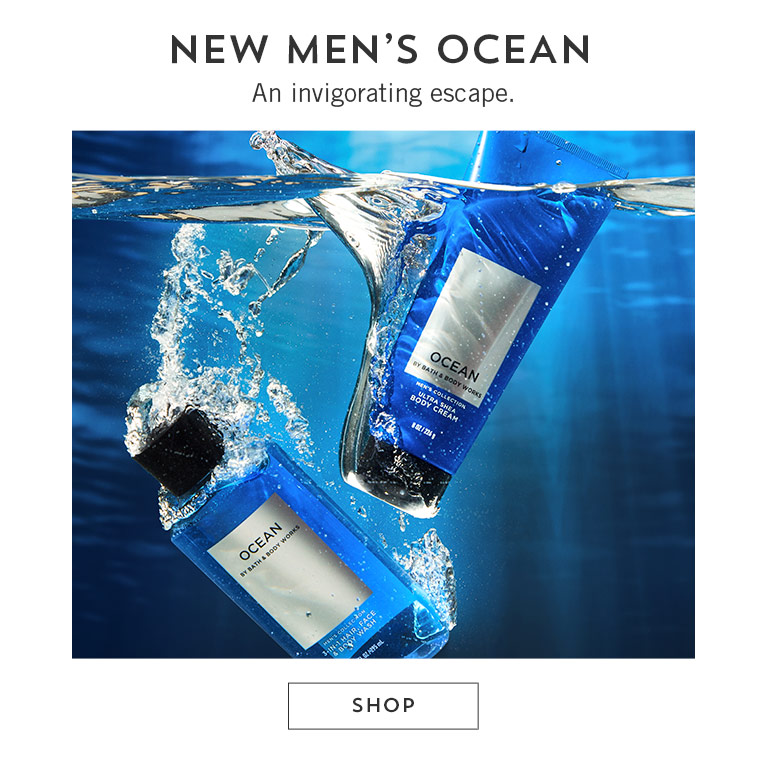 New men's Ocean. An invigorating escape. Shop.