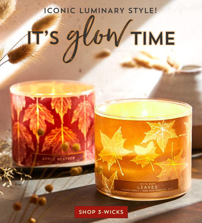 Iconic luminary style! It's glow time. Shop 3-wicks.