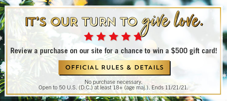 """It's our turn to give love. Review a purchase on our site for a chance to win a $500 gift card! How to enter: sign in or create a Bath & Body Works account and write a review for a product you purchase. Before you click """"submit,"""" select """"yes"""" from the drop-down menu to confirm your agreement to the review terms. Submit your review to be entered to win. No purchase necessary. Open to 50 U.S. (D.C.) at least 18+ (age maj.). Ends 11/21/21. Shop body care. Shop home fragrance. Shop hand soaps. Shop gifts."""