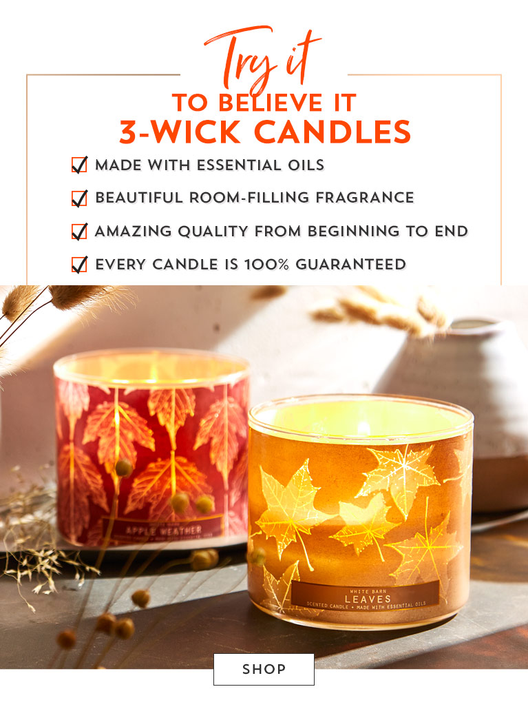 Try it to believe it. Made with essential oils. Beautiful room-filling fragrance. Amazing quality from beginning to end. Every candle is 100$ guaranteed. Shop.