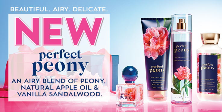 Beautiful. Airy. Delicate. New Perfect Peony. An airy blend of peony, natural apple oil and vanilla sandalwood.