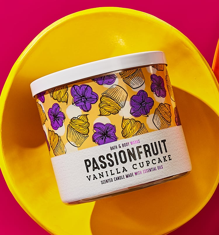 Passionfruit scented candle, cupcake candle
