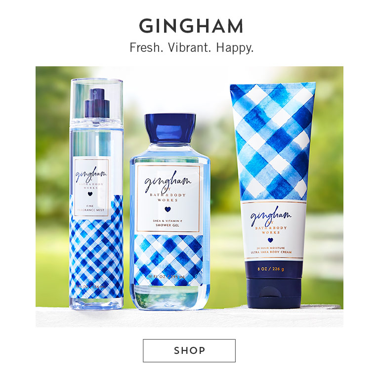 Gingham. Fresh. Vibrant. Happy. Shop now.
