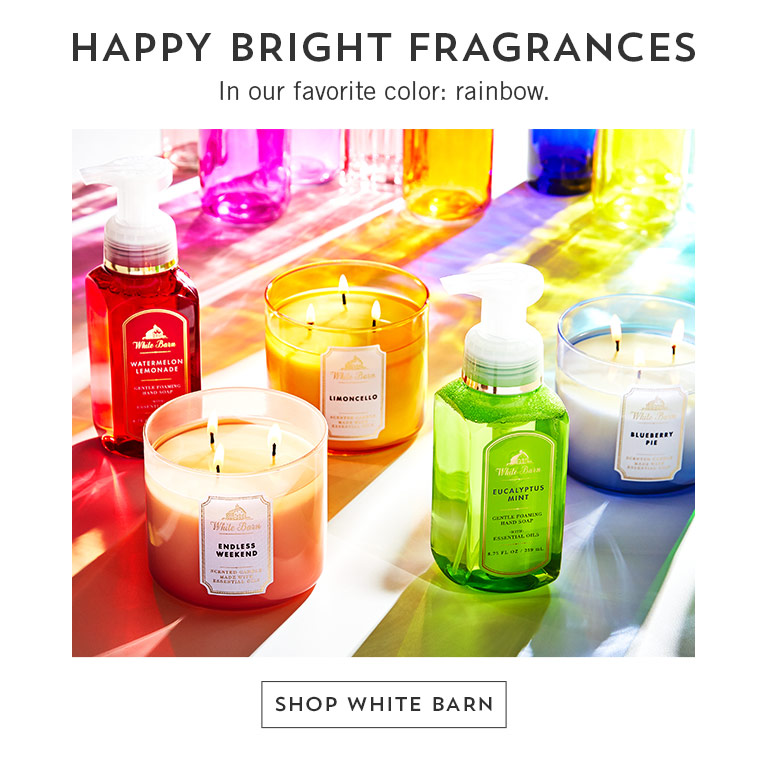 Happy bright fragrances in our favorite color: rainbow. Shop White Barn.