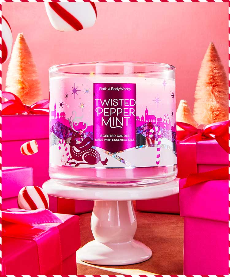 Peppermint-scented candle